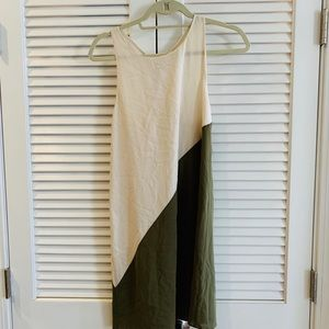 Alice and Olivia olive and cream cocktail dress